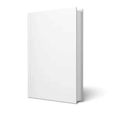 Blank vertical book cover template with pages in front side standing on white surface  Perspective view  Vector illustration
