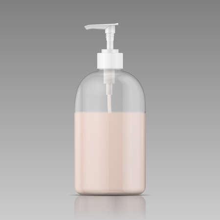 Plastic bottle with dispenser cap with liquid soap, shampoo, shower gel, lotion, body milk. Vector illustration.