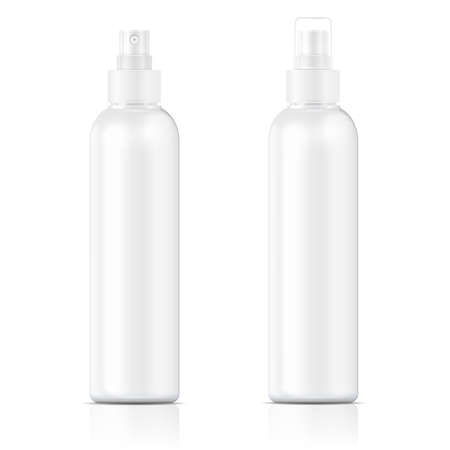 White plastic bottle (cosmo round style) with fine mist ribbed sprayer for cosmetic, perfume, deodorant, freshener. Vector illustration.