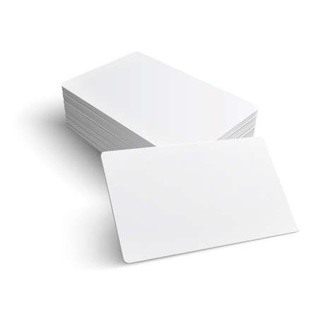 Stack of blank business card on white background with soft shadows. Vector illustration.