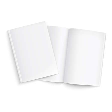 Couple of blank magazines template. on white background with soft shadows. Ready for your design. Vector illustration.