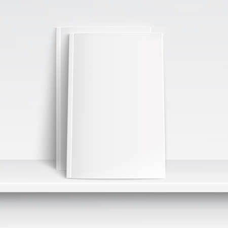 Two blank white magazines on white shelf with soft shadows and highlights. Vector illustration.