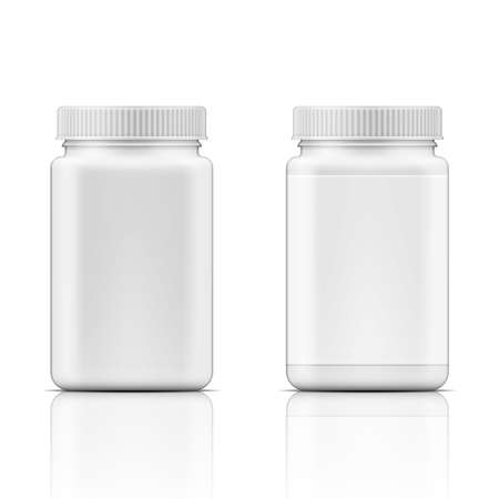 Illustration pour Template of white square plastic bottle with screw cap for medicine, pills, tabs. Packaging collection. Vector illustration. - image libre de droit