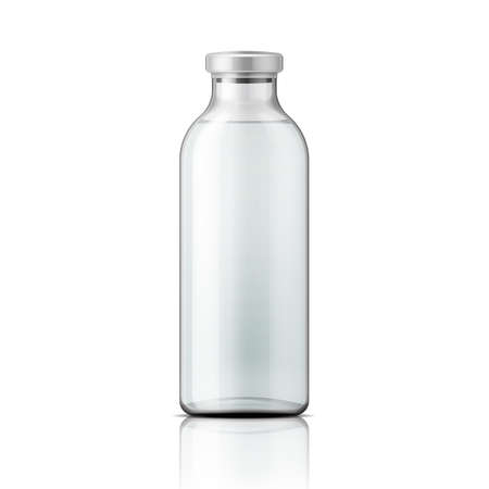 Illustration pour Template of empty tall transparent glass bottle with aluminium cap, filled with distilled water or salt solution. Packaging collection. Vector illustration. - image libre de droit