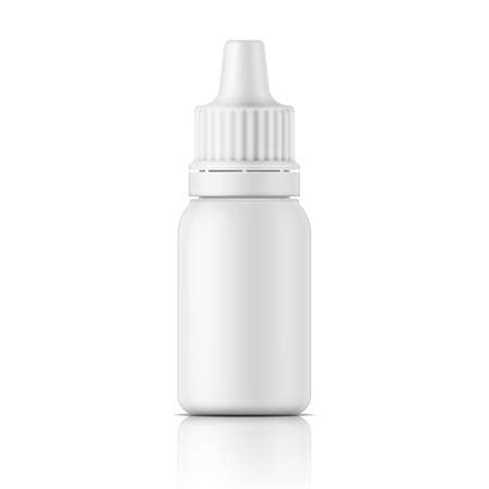 Illustration pour White plastic bottle template for medical or cosmetic fluid, eye drops, oil. Packaging collection. - image libre de droit