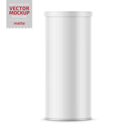 Ilustración de White matte paper tube with plastic lid for snacks, chips. Photo-realistic packaging mockup template. Vector 3d illustration. - Imagen libre de derechos
