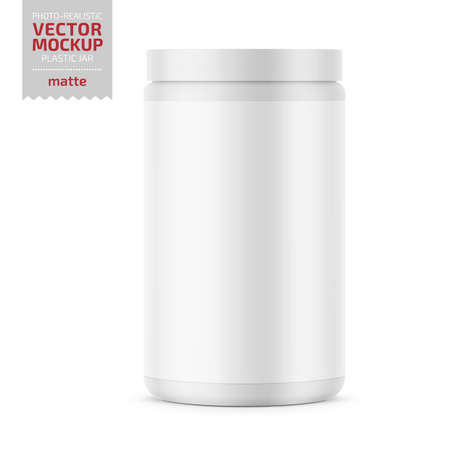 Illustration pour White glossy plastic jar with lid for sport powder - protein, vitamins, bcaa, tablets. Photo-realistic packaging mockup template. Vector 3d illustration. - image libre de droit