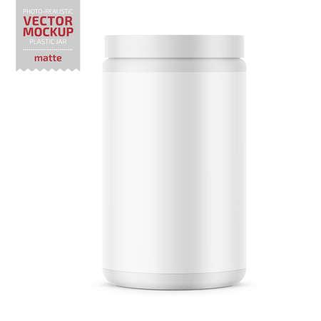 Ilustración de White glossy plastic jar with lid for sport powder - protein, vitamins, bcaa, tablets. Photo-realistic packaging mockup template. Vector 3d illustration. - Imagen libre de derechos