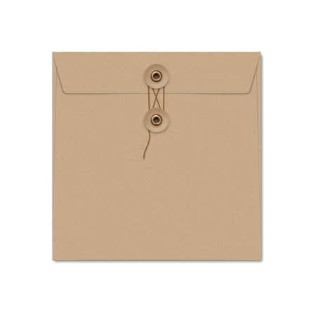 Illustration pour Kraft paper square string tie envelope on white. - image libre de droit