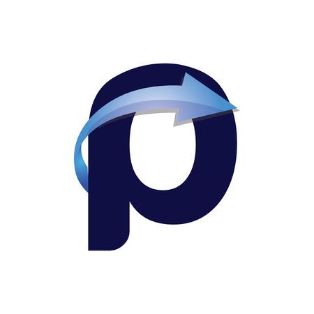p Letter Arrow Logo Element