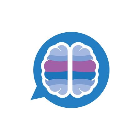 Illustration pour Brain talk message logo icon vector - image libre de droit