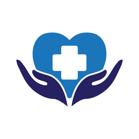 Foto de love heart with medical care logo icon vector - Imagen libre de derechos