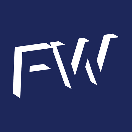 F W initial letter with negative space icon vector template