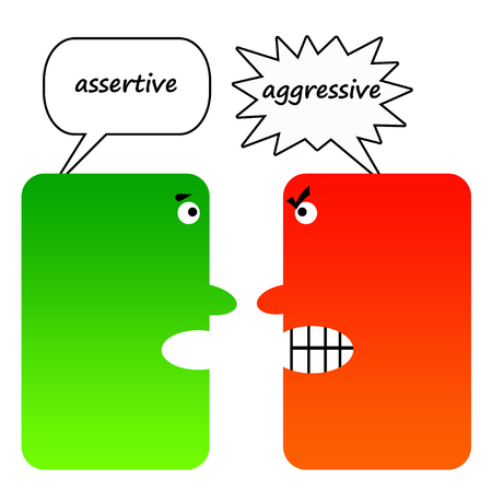 Assertive versus aggresive illustration
