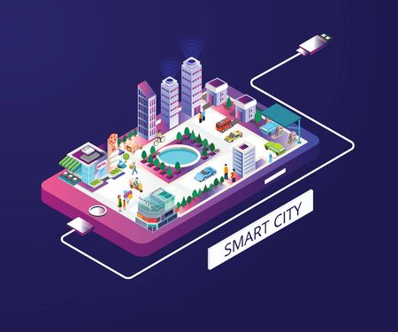 Illustration for Isometric Artwork Concept of smart city - Royalty Free Image