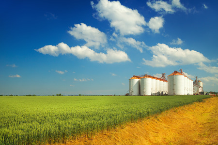 Photo pour Agricultural silos under blue sky, in the fields - image libre de droit