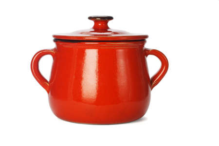 Red clay pot with lid on white background