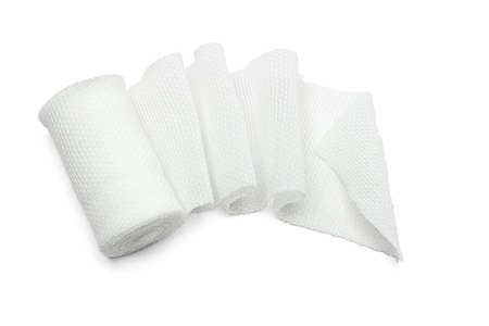 White medical cotton gauze bandage on white background