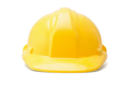 Yellow hardhat safety helmet on white background