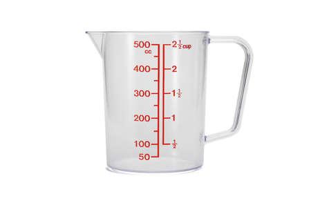 Photo pour Plastic kitchen measuring cup on white background - image libre de droit