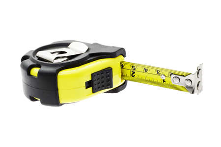 Close up of measuring tape with magnetic head on white background