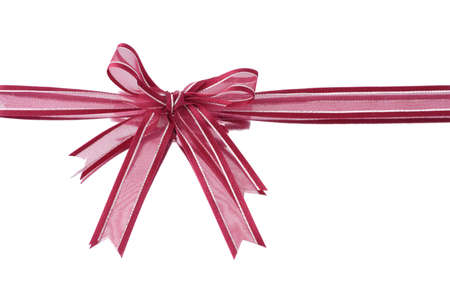 Red decorative bow ribbon on white reflective background