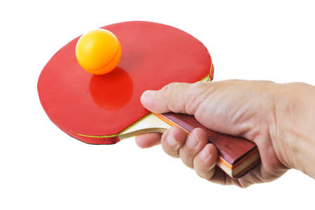 Hand hodling table tennis bat balancing the ball