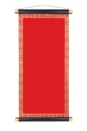 Photo pour Chinese Festive Scroll with Copy Space On White Background - image libre de droit