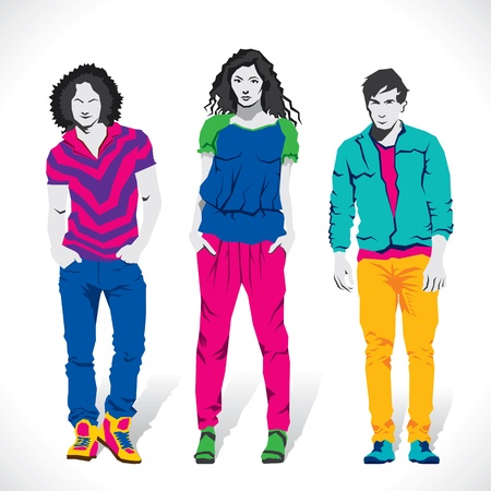 Illustration pour fashion boy and girl stock vector - image libre de droit