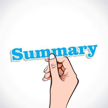 Summary word in hand stock vector