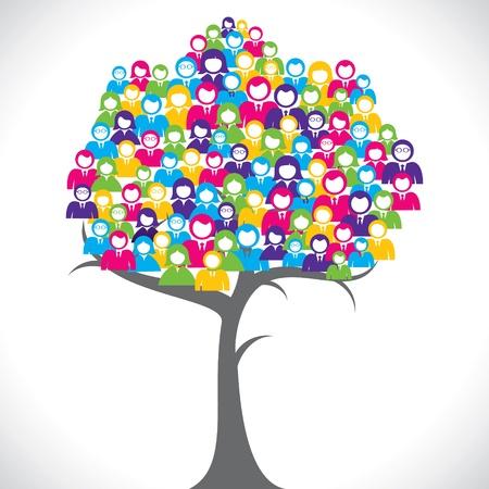 Illustration pour color businessmen tree stock vector - image libre de droit