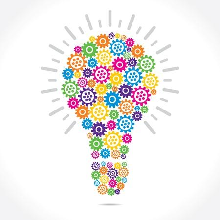 colorful gear make bulb shape stock vector