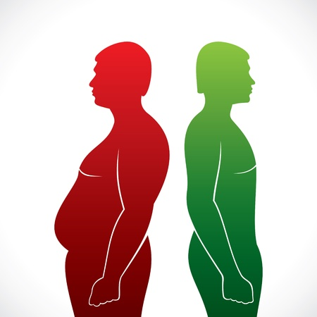 fat and slim men stock vector