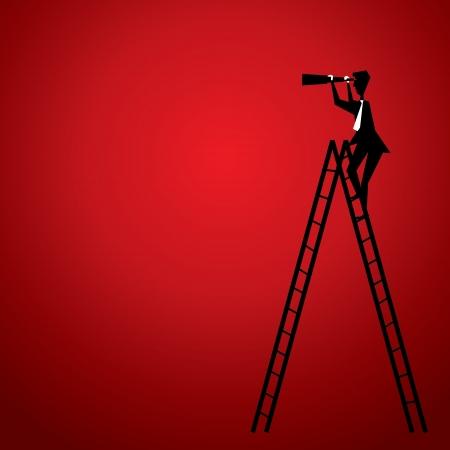 Illustration pour men up the stair to search - image libre de droit