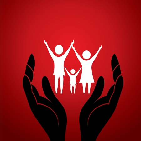 Photo for family with in hand stock vector - Royalty Free Image