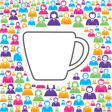 Mug icon with in group of people stock