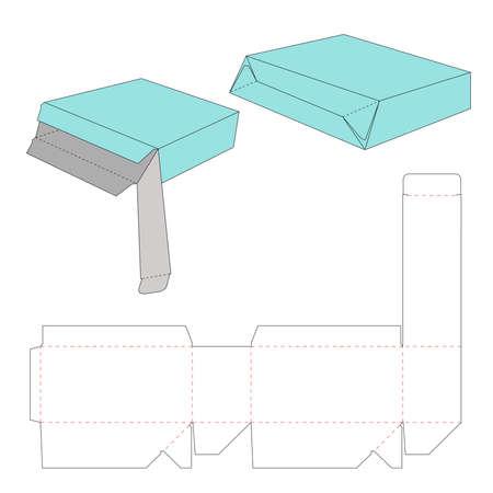 Illustration pour Tuck top auto bottom box dieline template - image libre de droit