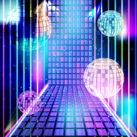 Light music in purple neon. Energy party in night club. Vector blue and purple abstract background with disco ball, light and neon lines