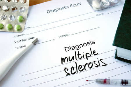 Diagnostic form with Diagnosis multiple sclerosis and pills.