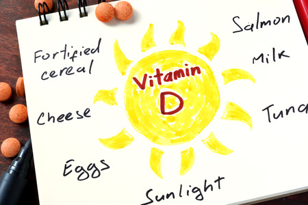 Notepad with vitamin d  and pills on the table.