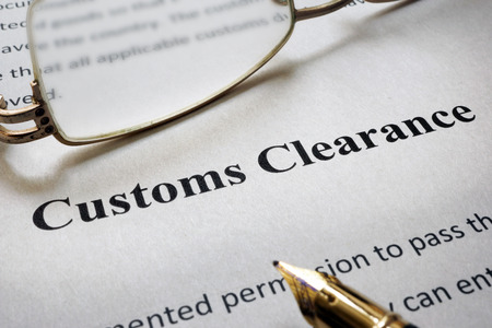 Page of paper with words Customs Clearance
