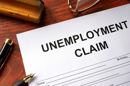 Photo for Unemployment claim form on an office table. - Royalty Free Image