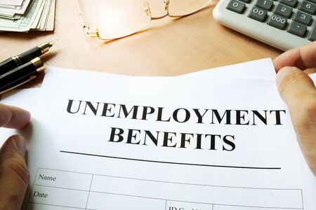 Photo for Unemployment benefits form on a table. - Royalty Free Image