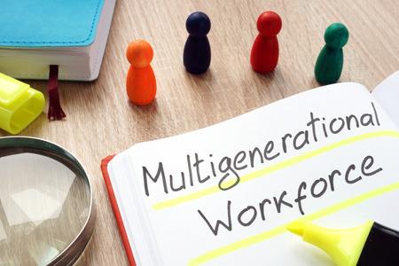 Photo pour Multigenerational workforce written by pen on a note. - image libre de droit