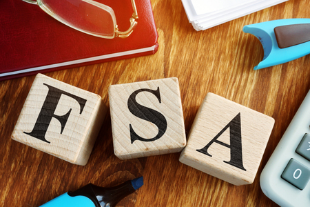 Photo for Flexible Spending Account FSA from wooden cubes. - Royalty Free Image