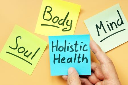 Photo pour Cards holistic health, mind, body and soul. - image libre de droit