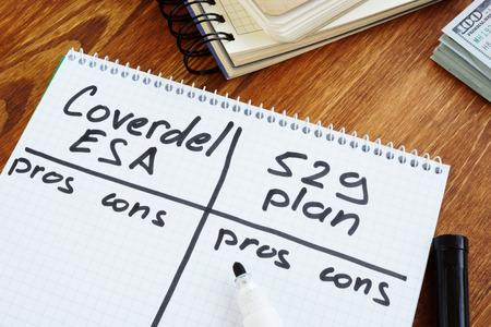 Foto de Coverdell esa vs 529 plan pros and cons. - Imagen libre de derechos