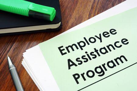 Photo for Employee assistance program EAP - benefit program on the desk. - Royalty Free Image