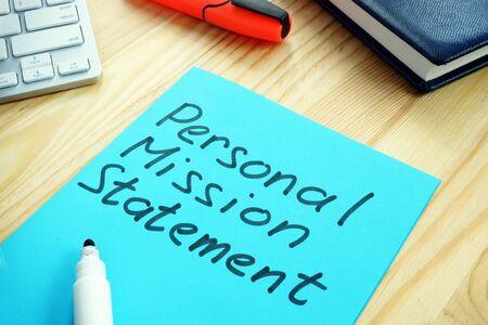 Photo pour Personal Mission Statement sign on the wooden surface. - image libre de droit