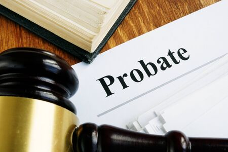 Photo pour Probate sign, stack of papers and gavel. - image libre de droit